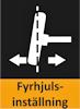 Här ser du en liten ikon över fyrhjulsinställning.